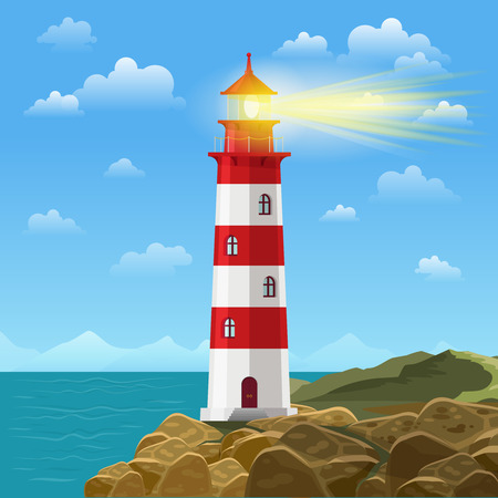shore: Lighthouse on ocean or sea beach cartoon background vector illustration. Lighthouse on coast of sea, structure of lighthouse on shore