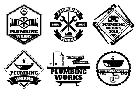 reliable: Plumber working  and force plumbing label vector set. Template of  plumbing works. Urgently reliable plumbing work illustration