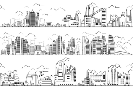 Paysage industriel et paysage urbain tiré à la main. Plantes vectorielles et silhouettes de lignes de bâtiments. Quartier des affaires et district industriel avec illustration des plantes et des usines