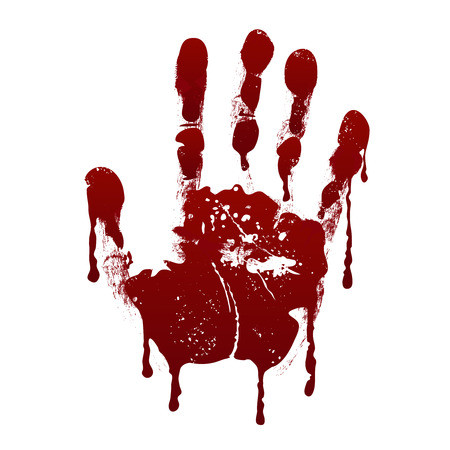 Bloody handprint. Horror dirty scary blood vector background. Hand print messy blood, illustration of handprint red blood