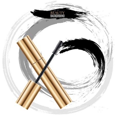 smears: Woman cosmetic brush smears. Vector mascara brush strokes on white background. Mascara brush for woman makeup illustration Illustration