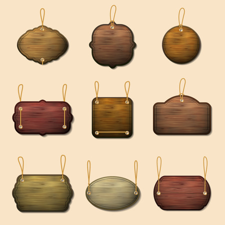 signboard form: Old wooden label templates or vector wooden banners. Wood signboard hanging on thread illustration