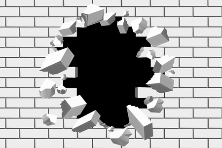 Brick wall break vector background. Destroyed barrier for business and achieve goals illustrations. Destruction wall barrier