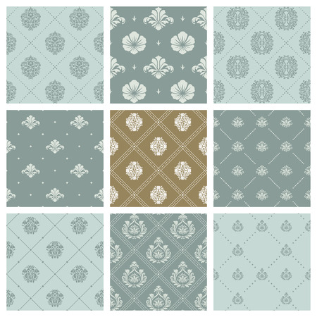 victorian wallpaper: Damask wallpaper or orient victorian background set. Pattern with flower in orient style, eastern arabian victorian illustration Illustration