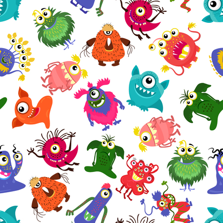 fluffy: Cute vector seamless colorful monster pattern for happy little boy. Background with monsters, set of character monster fluffy and horned illustration
