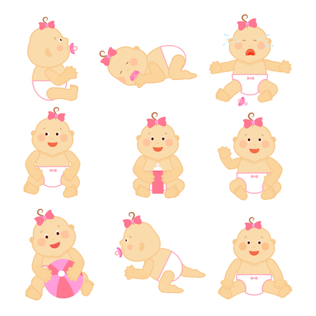 infant baby: Simple vector newborn baby or toddler illustration isolated on white background. Toddler baby girl, infant baby with pink bow