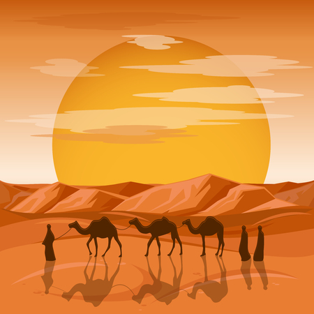 sand dunes: Caravan in desert vector background. Arab people and camels silhouettes in sands. Caravan with camel, camelcade silhouette travel to sand desert illustration