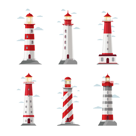 navigation icons: Cartoon lighthouse icons. Vector beacon or pharos set for sea security vector illustration. Set of striped lighthouses, sea beacon for security and navigation Illustration
