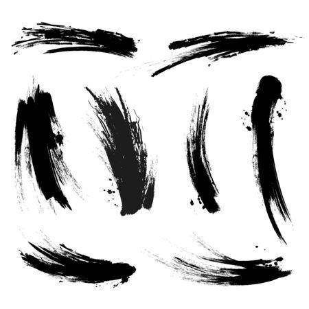 Vector black mascara brush trace strokes isolated on white background. Stroke from brush mascara, black stroke dirty trace illustration