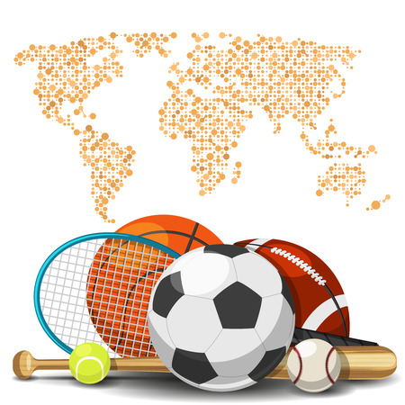 World sport deportes concept. Sports equipment with map background. Sport basketball and tennis, football and baseball illustration Illustration