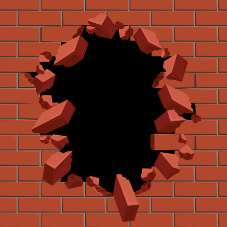 Exploding out hole in red brick wall vector illustration. Construction surface brickwall and broken hole in structure brick wall