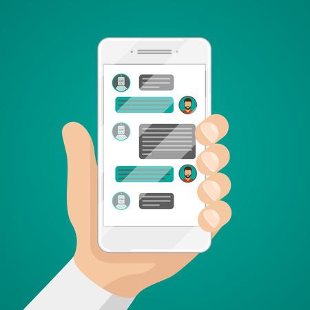 Hombre conversando con chat bot en la ilustración del vector de teléfono inteligente. Comunicación con el uso de chat bot teléfono inteligente, el mensaje de chat bot