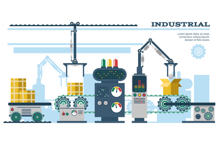 Industrial conveyor belt line vector illustration. Conveyor process production, conveyor with machinery robot Vectores