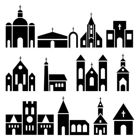 basilica: Church building icons. Vector basilica and chapel silhouettes. Black temple facade set illustration