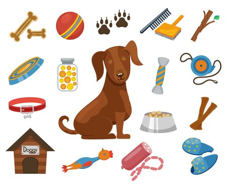 kennel: Pet dog vector icons. Collar and bowl for dog, illustration dogs kennel