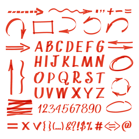 hand written: Marker hand written symbols. Vector pen line arrows and circles, letters and numbers. Handwriting marker arrow illustration