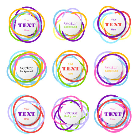 color ring: Colored rings banners. Colorful overlapping circles bubbles. Vector color ring with space for text, illustration of badge with rings