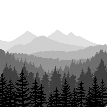 Pine forest and mountains vector backgrounds. Panorama taiga silhouette illustration Çizim