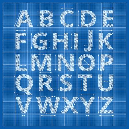 alfabeto Blueprint. Vector de la redacción de las cartas de papel plano. Bosquejo alfabeto artística con la ilustración de medición de la flecha