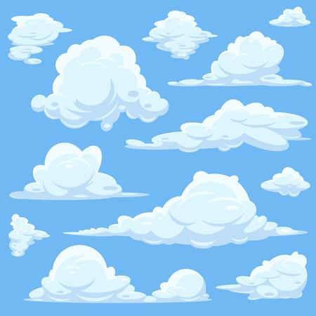 cielo de nubes: nubes de dibujos animados de vectores en el cielo azul. Conjunto de nubes blancas, cielo, con la ilustración cloid esponjoso Vectores