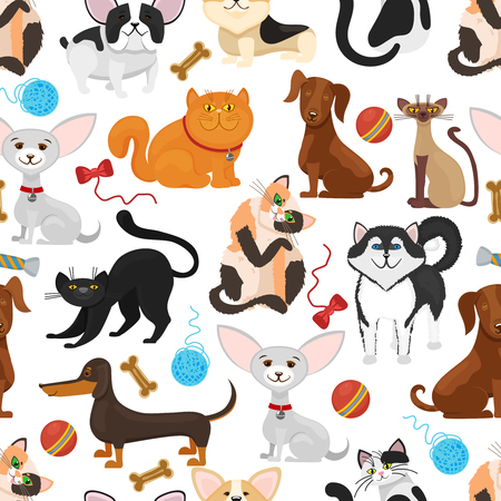 Pet vector background. Dogs and cats seamless pattern. Pets kittens and puppies, pedigree pet with toys illustration Illustration