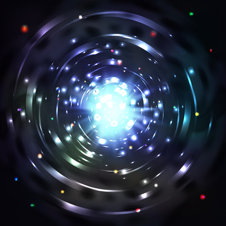 whirl: Light tunnel or light whirl vortex vector illustration. Whirl glowing tunnel and motion vortex in cosmic tunnel