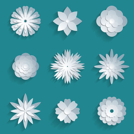 Vector paper flowers set. 3d origami abstract flower icons illustration Illustration