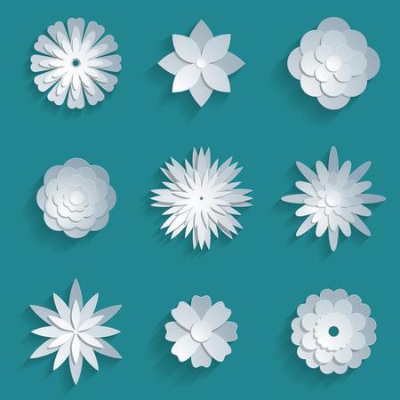 Vector papieren bloemen in te stellen. 3d origami abstracte bloem pictogrammen illustratie Stock Illustratie