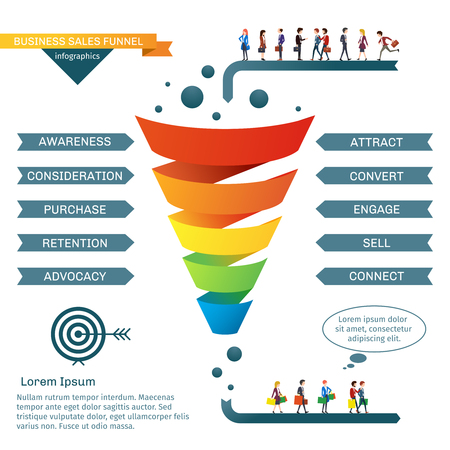 Business sales funnel vector infographics. Strategy business marketing, illustration of colored business funnel Vettoriali