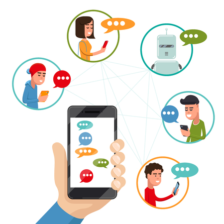 Teen friends chat on phone. Vector friendly discussing messaging on smartphone in flat style. Boy and girl messaging use phone illustration