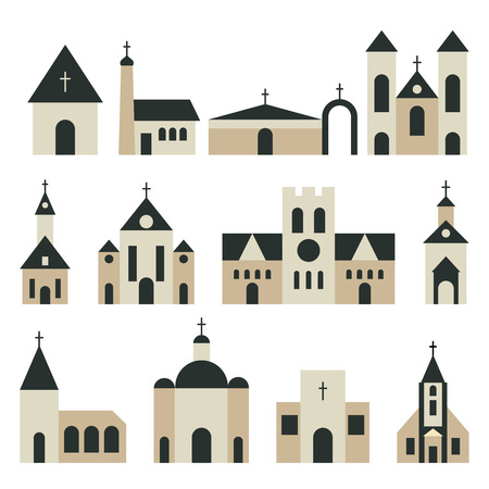 the christian religion: Christian church with basilica and tower vector set. Religion building architecture illustration
