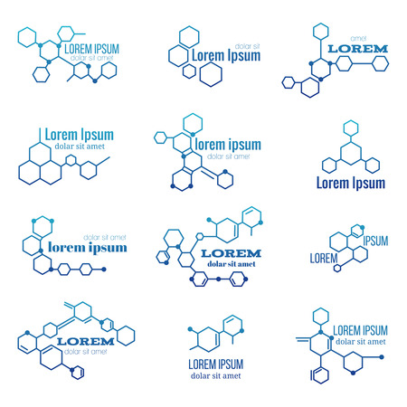 scientific: Molecule structure  or biology model sign vector. Set of  with structure molecule, illustration of  molecule for laboratory Illustration