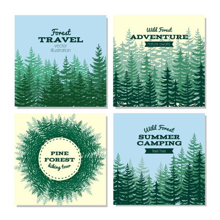 evergreen: Lumber style poster cards. Nature wild pine forest posters. Banner with green wood. Vector illustration