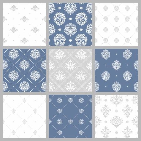 decoration style: Victorian pattern, white baroque wallpaper. Set of background in baroque style, wrapping decoration baroque design. Vector illustration