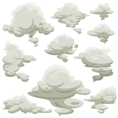 Cartoon smoke or fog vector set. Smoke bubble comic, illustration of smoke after power explosion