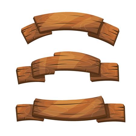 Cómica banderas de madera y señales. tablero de tablones de madera, madera de dibujos animados Ilustración de la placa de color marrón Ilustración de vector
