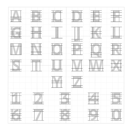drafting: Drafting paper alphabet. Vector drawing sketch letters. Alphabet lettering instructional drafting, illustration of drafting letters Illustration