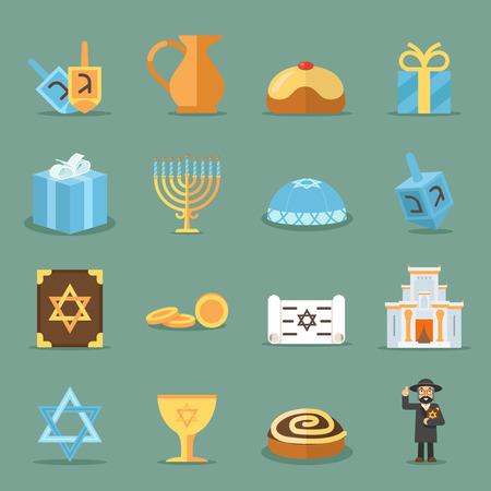 synagogue: Jewish flat icons. Israel and judaism vector symbols with rabbi, torah and synagogue. Jewish elements set candle and david star illustration Illustration
