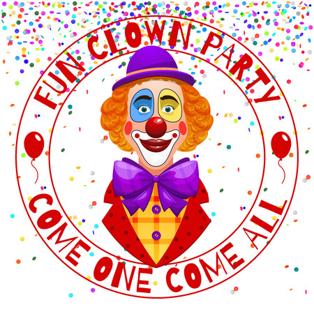 comedian: Fun clowns party invitation. Funny happy laughing clown with hat and nose vector illustration. Clown jester smile, comedian in fun costume Illustration