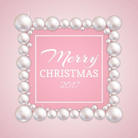 christmas pearl frame vector fashion pearls border for wedding anniversary or invitation banner - The Christmas Pearl
