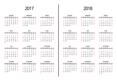 Vector 2017 year and 2018 year calendar page. Simple 2017 and 2018 monthly calendar. Page calendar year illustration