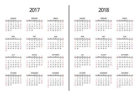 벡터 2,017년 2018 년 달력 페이지. 간단한 2017 2018 년 월별 달력. 페이지 일정 해 그림 스톡 콘텐츠 - 67400397