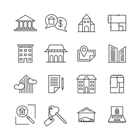 property for sale: Commercial real estate linear icons. Property for sale line signs. Building sell, property home rent illustration Illustration