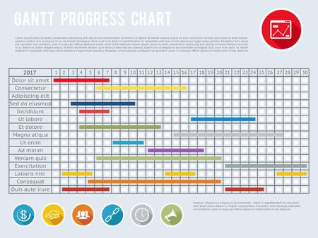 プロジェクト スケジュールのチャートまたはタイムライン グラフを計画進行中。ガント進行計画、ガント チャート構造組織図