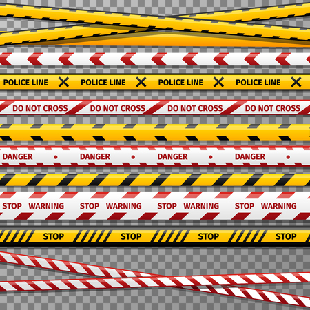 Danger caution tapes for police accident. Tape for restricted perimeter, tape to prohibited zone illustration