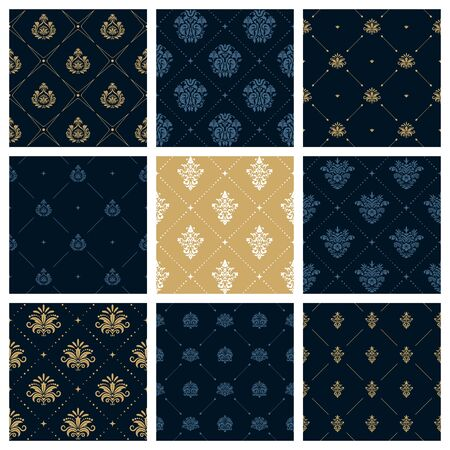 victorian christmas: Royal patterns or victorian christmas background. Set of creative decoration pattern, illustration of fashion colllection patterns Illustration