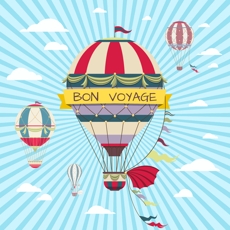 voyage: Retro card with hot air balloon. Vintage bon voyage poster with air balloon in sky, travel on hot air balloon illustration