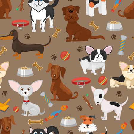 perros graciosos: perros divertidos lindos ilustración vectorial sin patrón. perro animal de la historieta, fondo con mascotas cachorro y perros