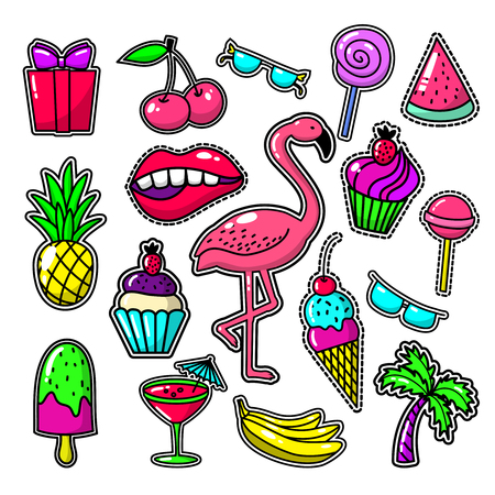 fashion glasses: Embroidery tropical fashion patches. Patch vector set with sweet food, palm and flamingos. Watermelon and glasses illustration Illustration