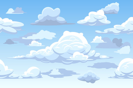 clouds cartoon: Vector cartoon blue cloudy sky. Horizontal seamless pattern with clouds, cloudscape background illustration Illustration